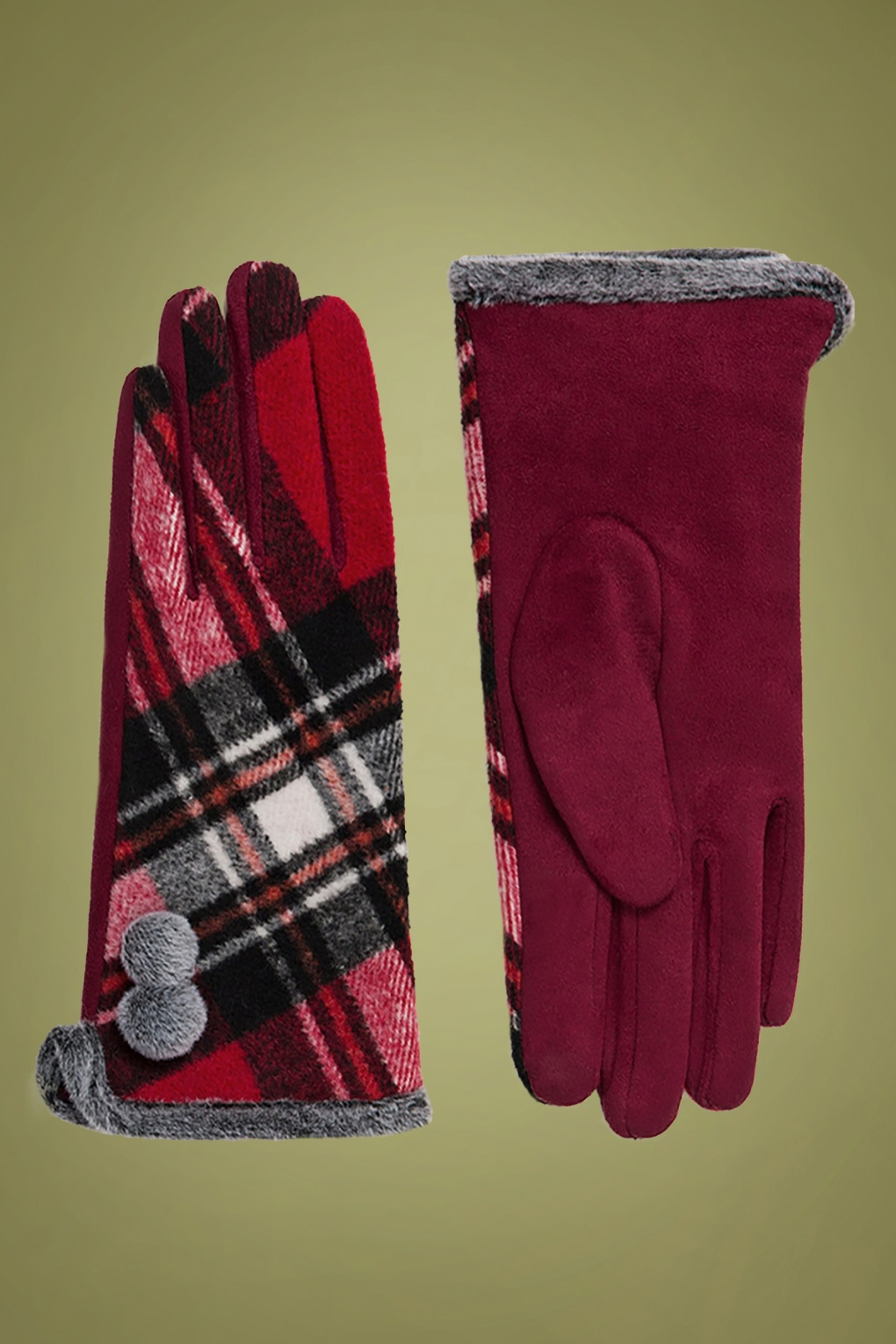 Vintage Style Gloves- Long, Wrist, Evening, Day, Leather, Lace 50s Bonnie Tartan Gloves in Red £16.12 AT vintagedancer.com