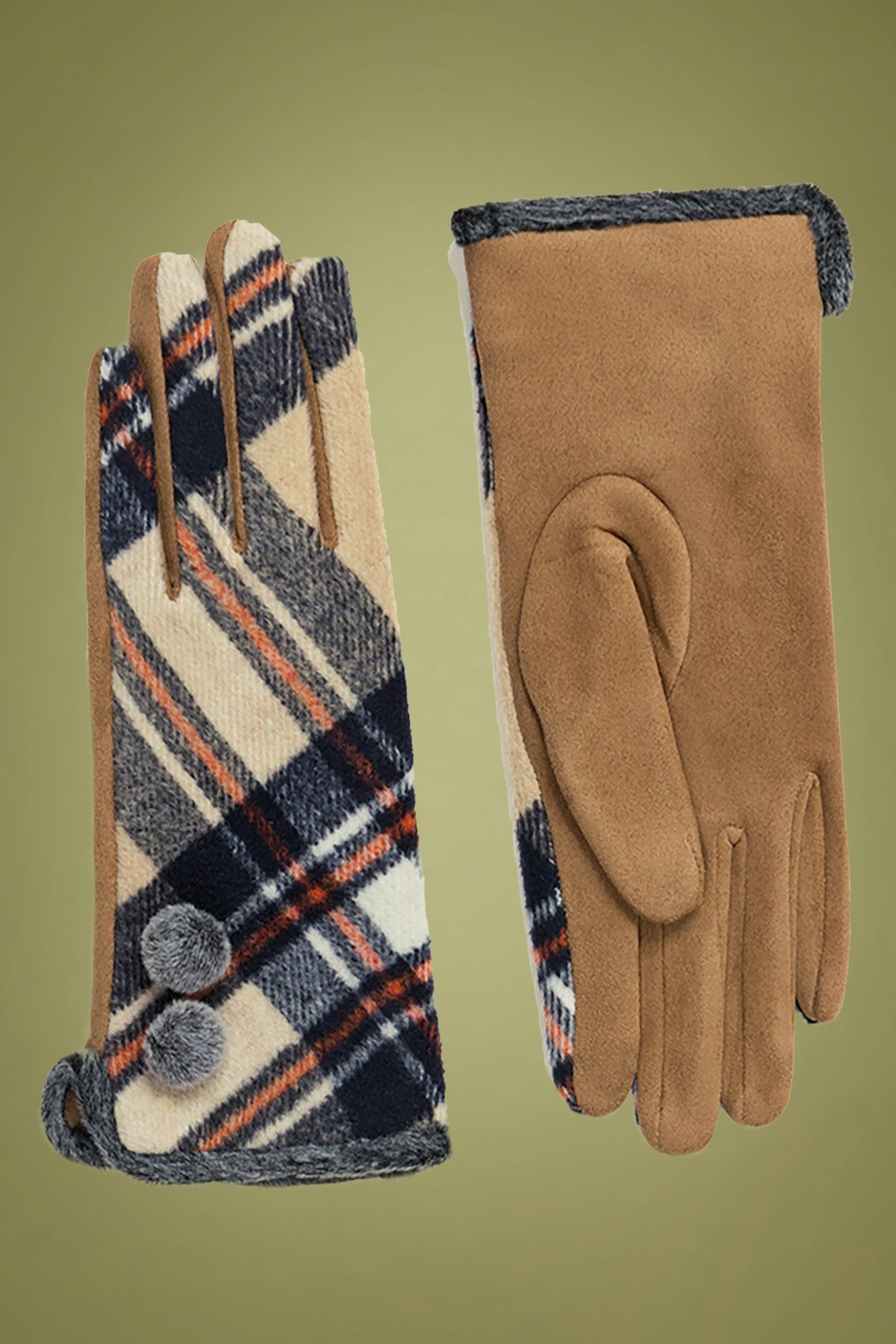 Vintage Style Gloves- Long, Wrist, Evening, Day, Leather, Lace 50s Bonnie Tartan Gloves in Beige £16.12 AT vintagedancer.com