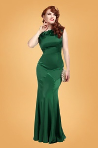 Ingrid Fishtail Maxi Dress Années 30 en Vert Èmeraude