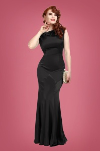 Collectif Clothing Ingrid Fishtail Maxi Dress Années 30 en Noir