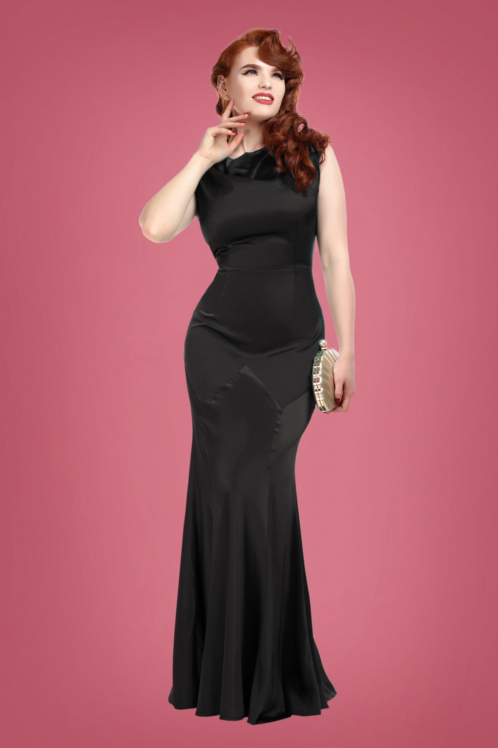1930s Dresses, Shoes, Lingerie, Clothing UK 30s Ingrid Fishtail Maxi Dress in Black £96.93 AT vintagedancer.com