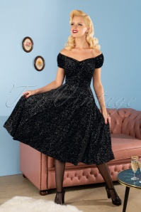 50s Dolores Glitter Drops Velvet Doll Dress in Black