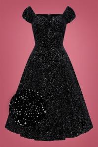 Collectif 29856 Dolores Glitter Drops Velvet Doll Dress in Black 20190814 020LZ