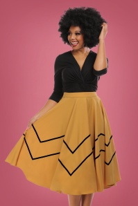 Milla Swing Skirt Années 50 en Jaune Moutarde