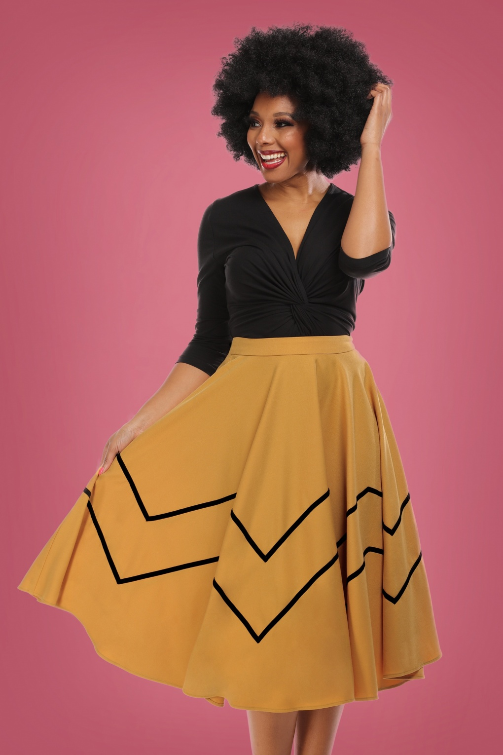 50s Skirt Styles | Poodle Skirts, Circle Skirts, Pencil Skirts 1950s 50s Milla Swing Skirt in Mustard £63.86 AT vintagedancer.com
