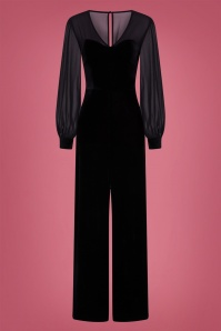 50s Arionna Velvet Jumpsuit in Black