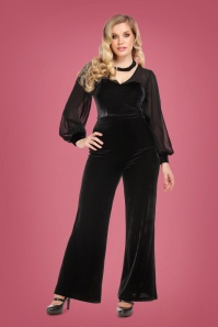 Collectif 29930 Arionna Velvet Jumpsuit in Black 20190430 020LW