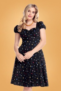 Mimi Rainbow Star Doll Dress Années 50 en Noir