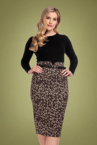 50s Caron Autumn Falls Pencil Skirt in Brown