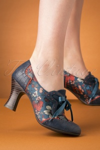 Ruby Shoo 40s Daisy Floral Booties in Cyan