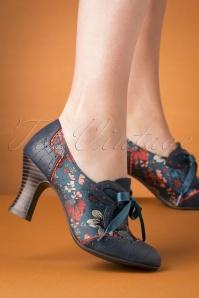 Daisy Floral Booties Années 40 en Cyan