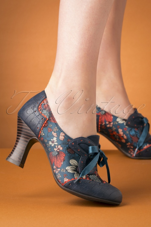 Ruby Shoo 29305 Daisy Cyan Bootie Heels Blue Ribbon Red 20190618 026W