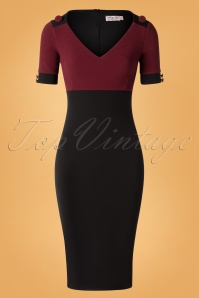 Vintage Chic for TopVintage 50s Candy Pencil Dress in Wine and Black