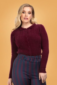 40s Cara Cardigan in Burgundy