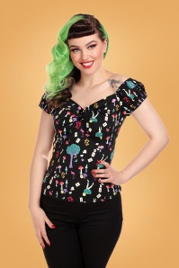 50s Dolores Wonderland Top in Black