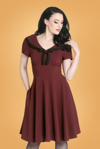 50s Thea Swing Dress in Burgundy