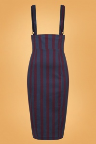 Karen Triplet Stripes Suspender Pencil Skirt Années 50 en Bleu Marine