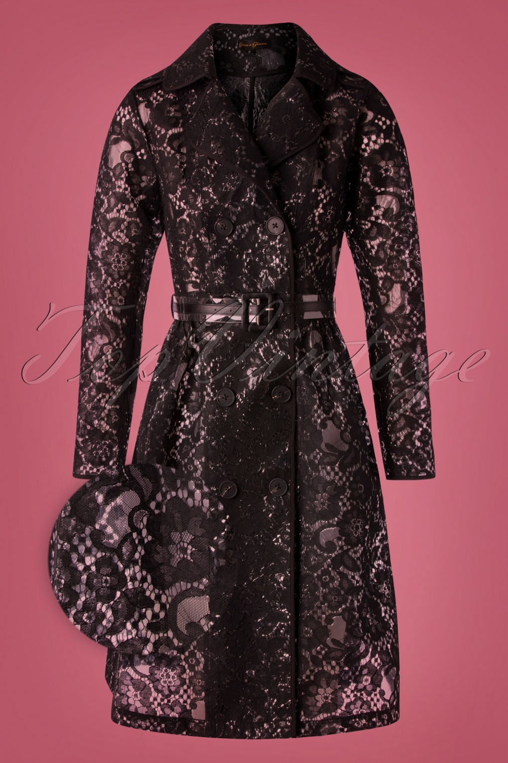 Vintage Coats & Jackets | Retro Coats and Jackets 50s Lucinda Lace Raincoat in Black £175.06 AT vintagedancer.com