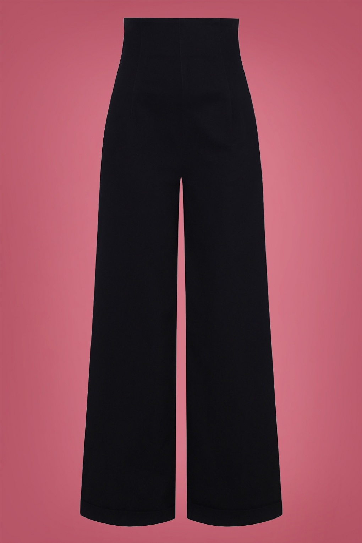 1950s Pants & Jeans- High Waist, Wide Leg, Capri, Pedal Pushers 50s Kiki High Waisted Jeans in Black £53.29 AT vintagedancer.com