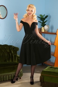 Collectif Clothing 50s Valentina Swing Dress in Black