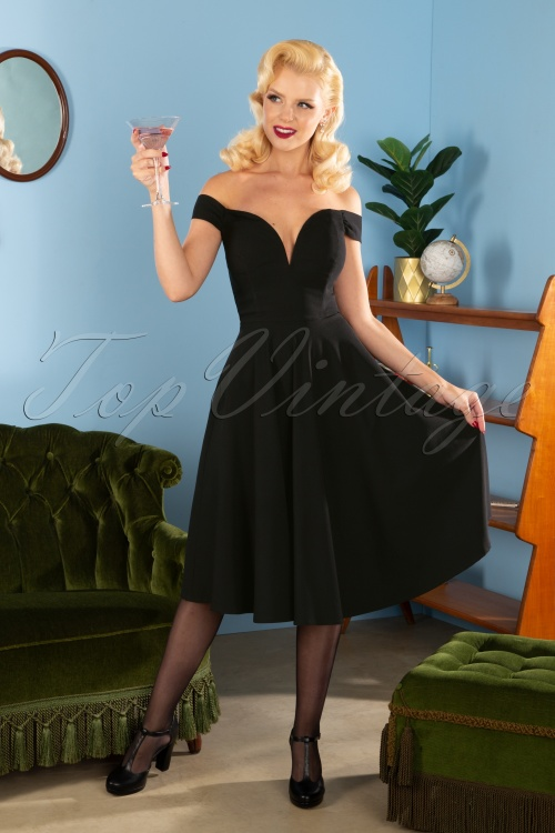 Collectif 29845 Valentina Swing Dress in Black 20190814 812W