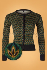 50s Roundneck Fiddle Cardi in Pine Green