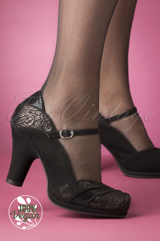 1950s Style Shoes | Heels, Flats, Saddle Shoes 50s Sherrie Nero Pumps in Black £67.16 AT vintagedancer.com