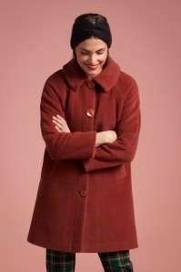 King Louie Betty Fayette Coat Années 70 en Rouge Henné