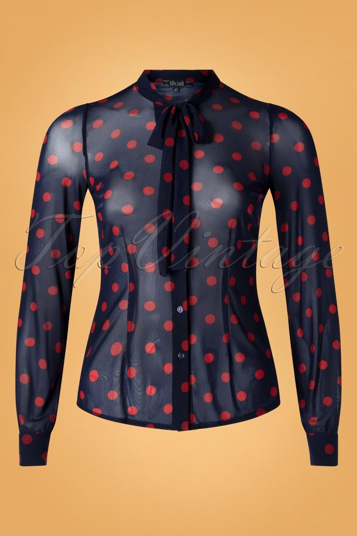 60s Dresses & 60s Style Dresses UK 60s Olivia Napa Blouse in Blue £62.66 AT vintagedancer.com
