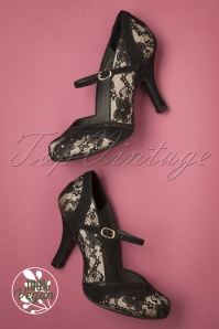 50s Delilah Lace Pumps in Black