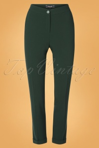 50s Ann Woven Crepe Pants in Pine Green