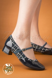 Ruby Shoo 60s Jolene Tweed Pumps in Navy