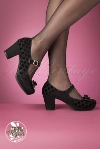 Ruby Shoo 29308 Frankie Black Velvet Heels Bow 20190618 015W Vegan