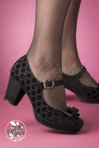 Ruby Shoo 50s Frankie Velvet Pumps in Black
