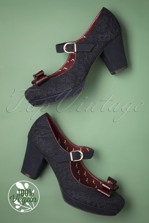 Ruby Shoo 29306 Frankie Navy Bordeau Bow Heels 20190618 015W Vegan