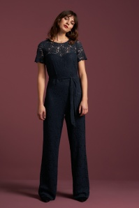 King Louie 50s Betty Damask Jumpsuit in Dark Blue