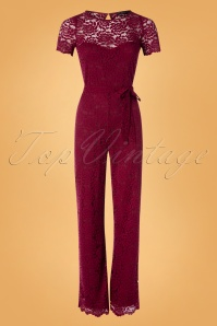 King Louie 50s Betty Damask Jumpsuit in Cherise Red