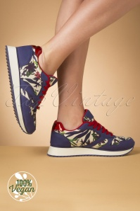 Ruby Shoo 29299 Suzie Sneaker Blue White Red Green Flowers 20190618 018W Vegan