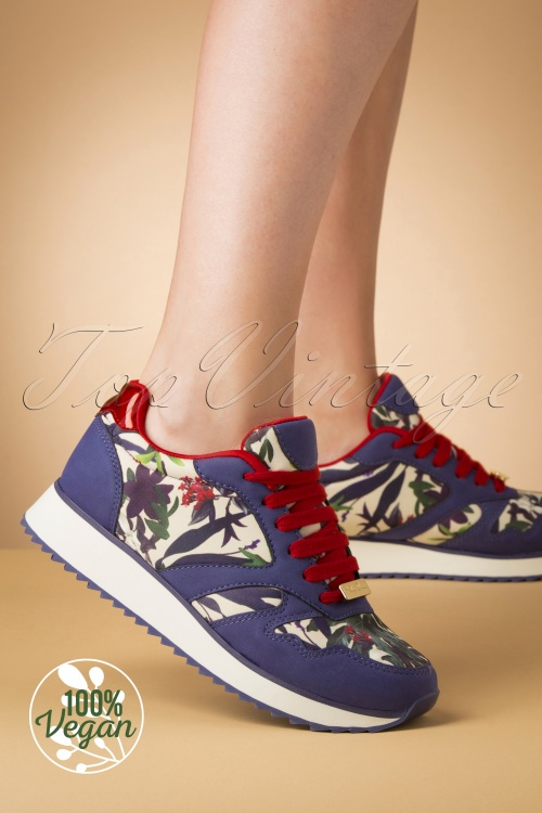 Ruby Shoo 29299 Suzie Sneaker Blue White Red Green Flowers 20190618 010W Vegan