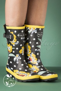 Ruby Shoo 60s Hermione Floral Wellington Boots in Black