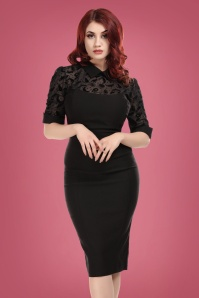 Wednesday Magic Mesh Pencil Dress Années 50 en Noir
