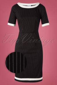 Banned 30647 Black Trim Pencil Dress Chalkstripes 20190626 003Z