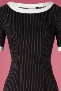 Banned 30647 Black Trim Pencil Dress Chalkstripes 20190626 003V