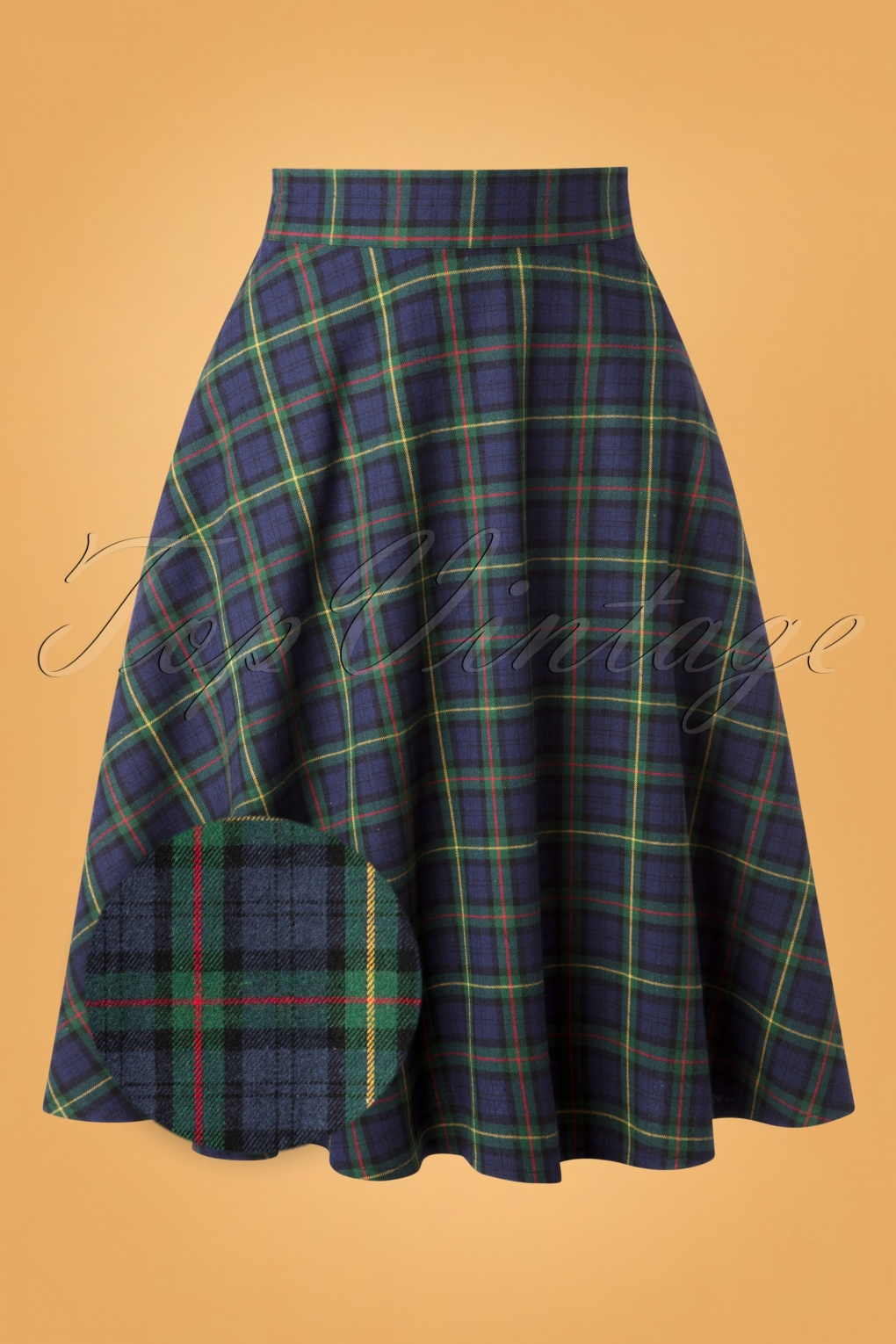 1940s Style Skirts- Vintage High Waisted Skirts 50s Happy Check Swing Skirt in Blue and Green £41.12 AT vintagedancer.com