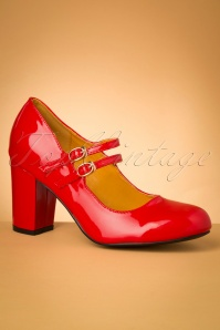 Golden Years Lacquer Pumps Années 60 en Rouge Vif