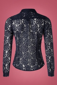 King Louie 29462 Rosie Blouse Damask in Dark Blue 20190722 005W