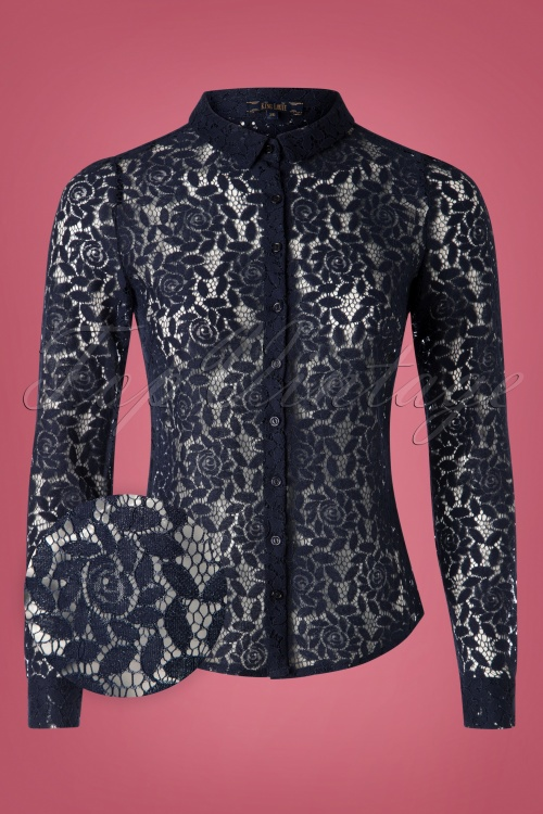 King Louie 29462 Rosie Blouse Damask in Dark Blue 20190722 002V