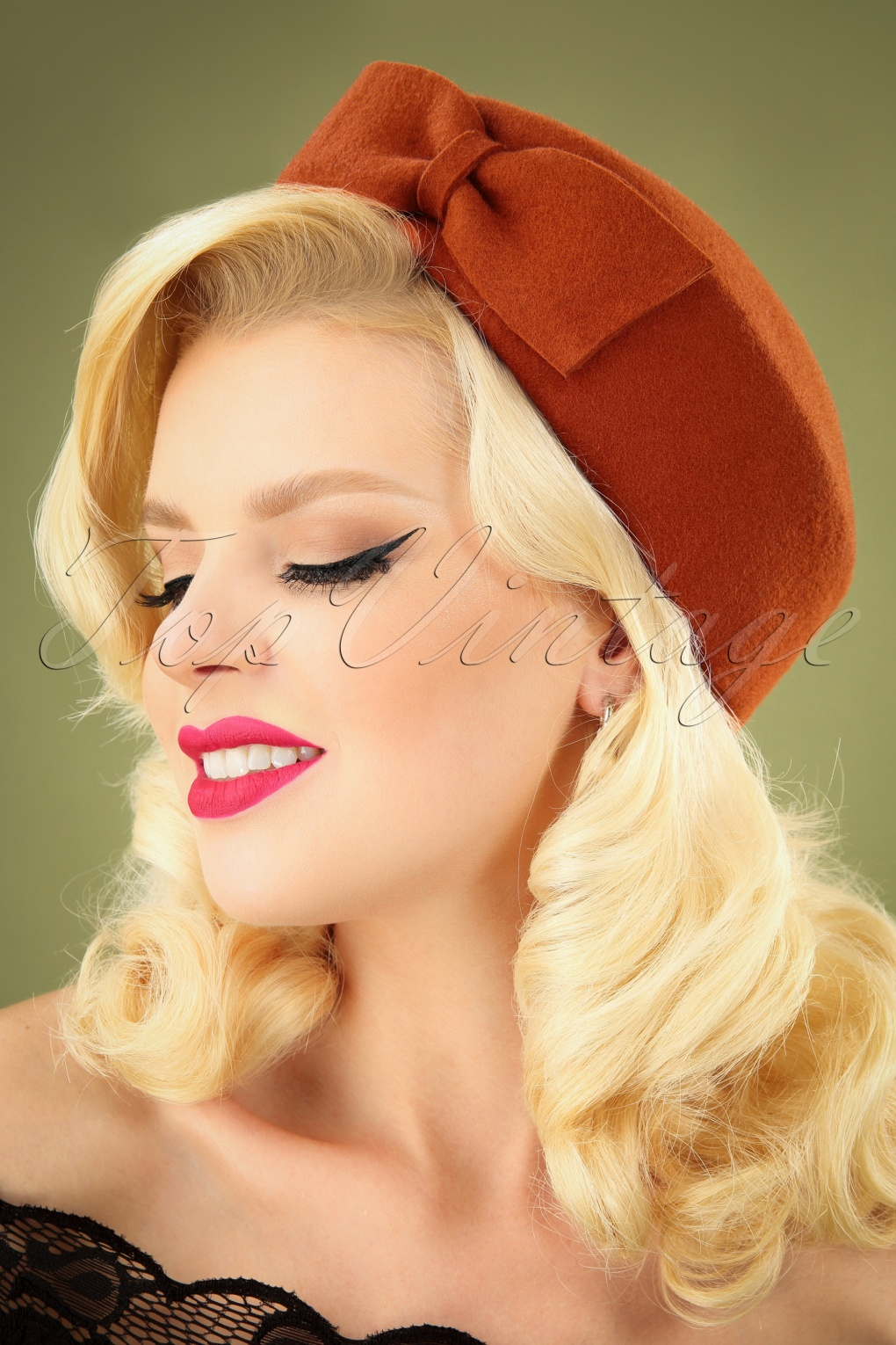Tea Party Hats – Victorian to 1950s 50s Nadine Wool Hat in Burnt Orange £29.37 AT vintagedancer.com