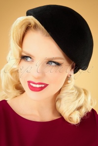 Collectif 30481 Salma Wool Flat Cap Hat Black 040M W