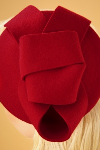 Collectif 30480 Florence Wool Fascinator Hat Red 041M copy